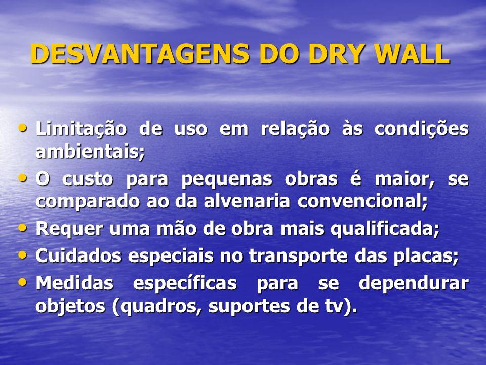 DESVANTAGENS DO DRY WALL