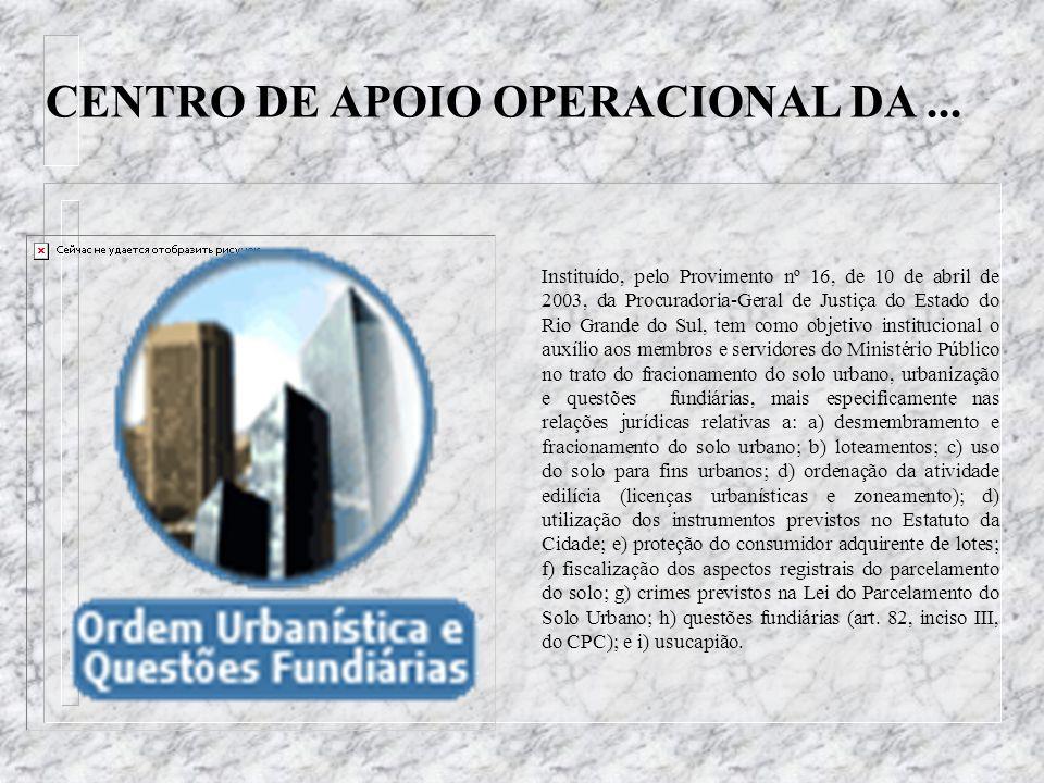 CENTRO DE APOIO OPERACIONAL DA ...