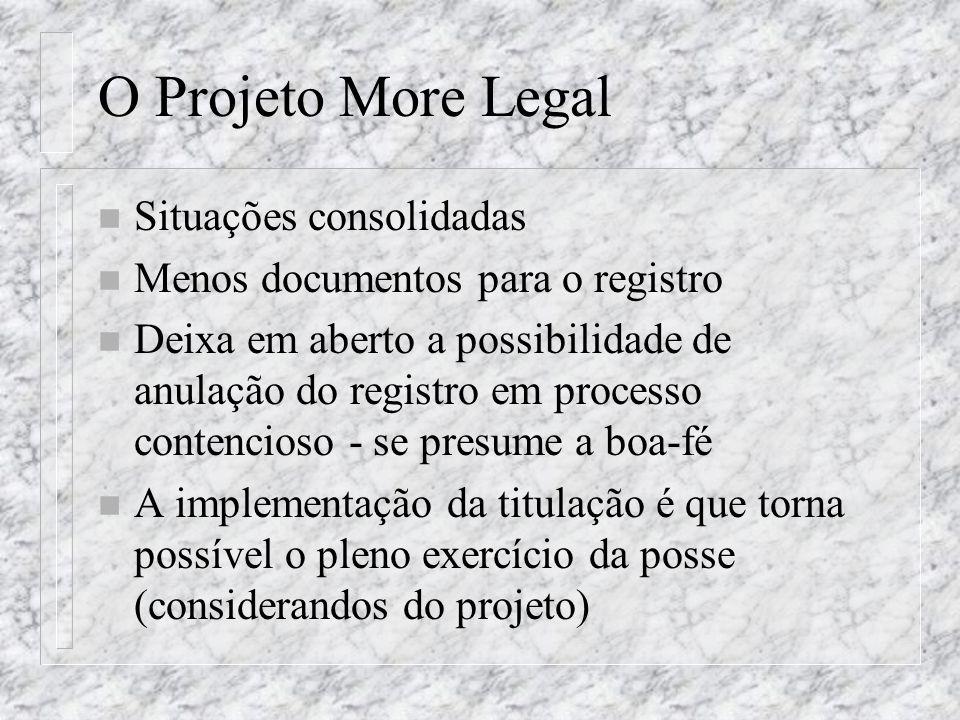 O Projeto More Legal Situações consolidadas