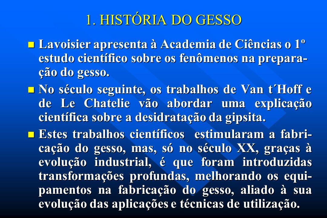 1. HISTÓRIA DO GESSO Lavoisier apresenta à Academia de Ciências o 1º estudo científico sobre os fenômenos na prepara-ção do gesso.