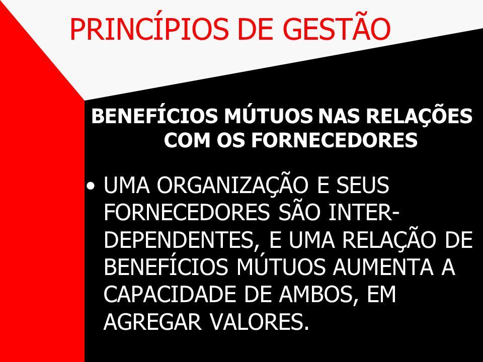 BENEFÍCIOS MÚTUOS NAS RELAÇÕES COM OS FORNECEDORES