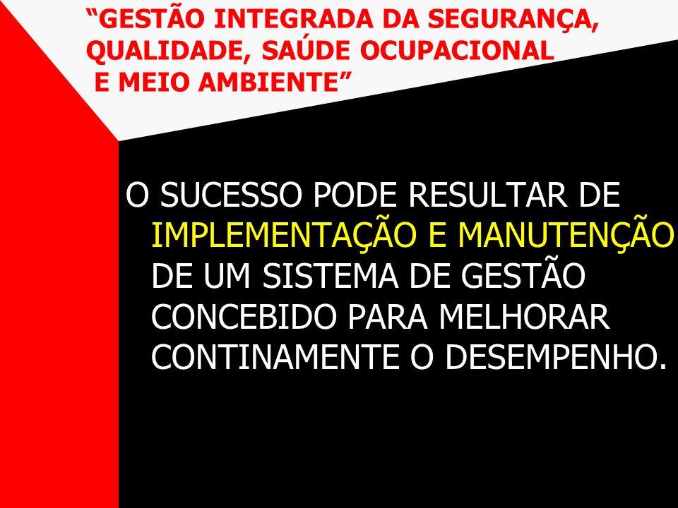 GESTÃO INTEGRADA DA SEGURANÇA, QUALIDADE, SAÚDE OCUPACIONAL E MEIO AMBIENTE