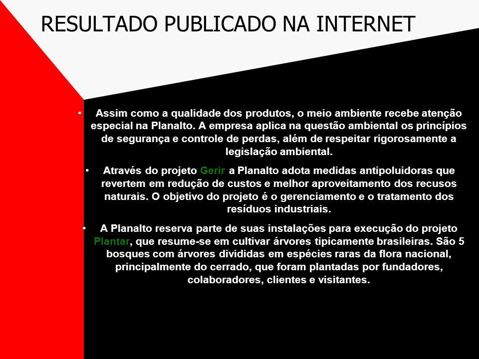 RESULTADO PUBLICADO NA INTERNET