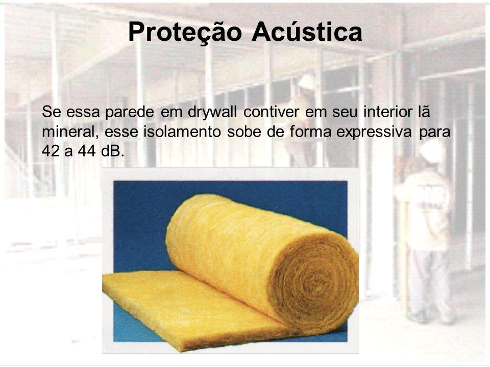 Proteção AcústicaSe essa parede em drywall contiver em seu interior lã mineral, esse isolamento sobe de forma expressiva para 42 a 44 dB.