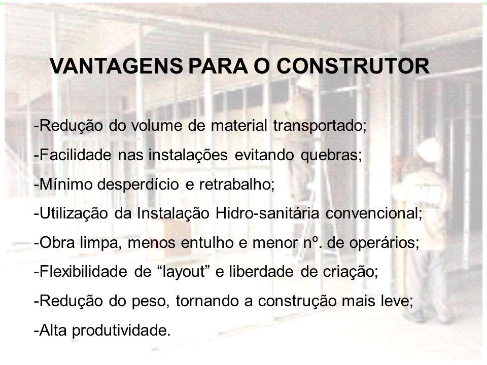 VANTAGENS PARA O CONSTRUTOR