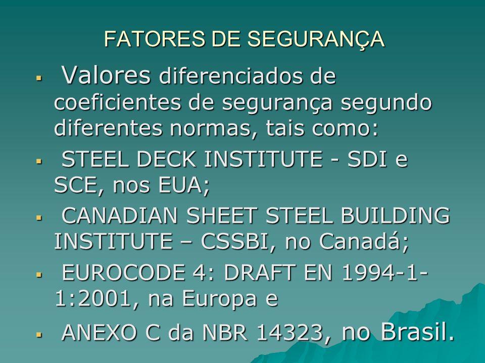 FATORES DE SEGURANÇA Valores diferenciados de coeficientes de segurança segundo diferentes normas, tais como: