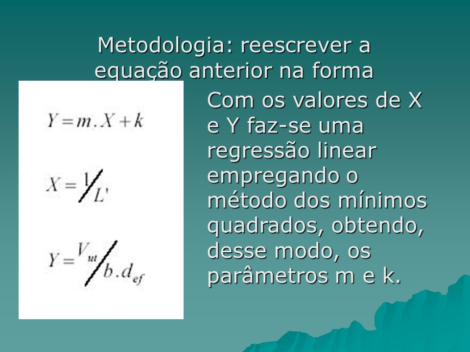 Metodologia: reescrever a equação anterior na forma