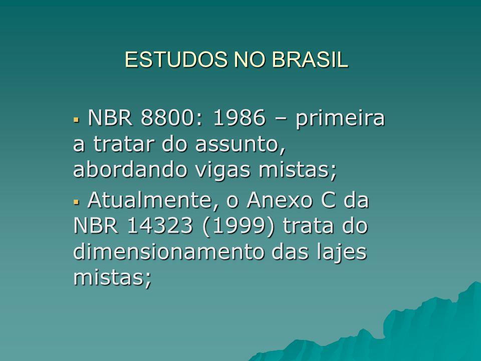 ESTUDOS NO BRASIL NBR 8800: 1986 – primeira a tratar do assunto, abordando vigas mistas;