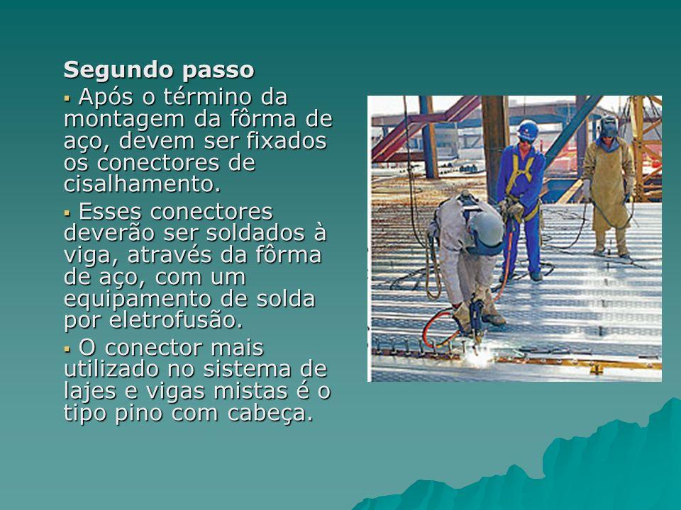 Segundo passo Após o término da montagem da fôrma de aço, devem ser fixados os conectores de cisalhamento.