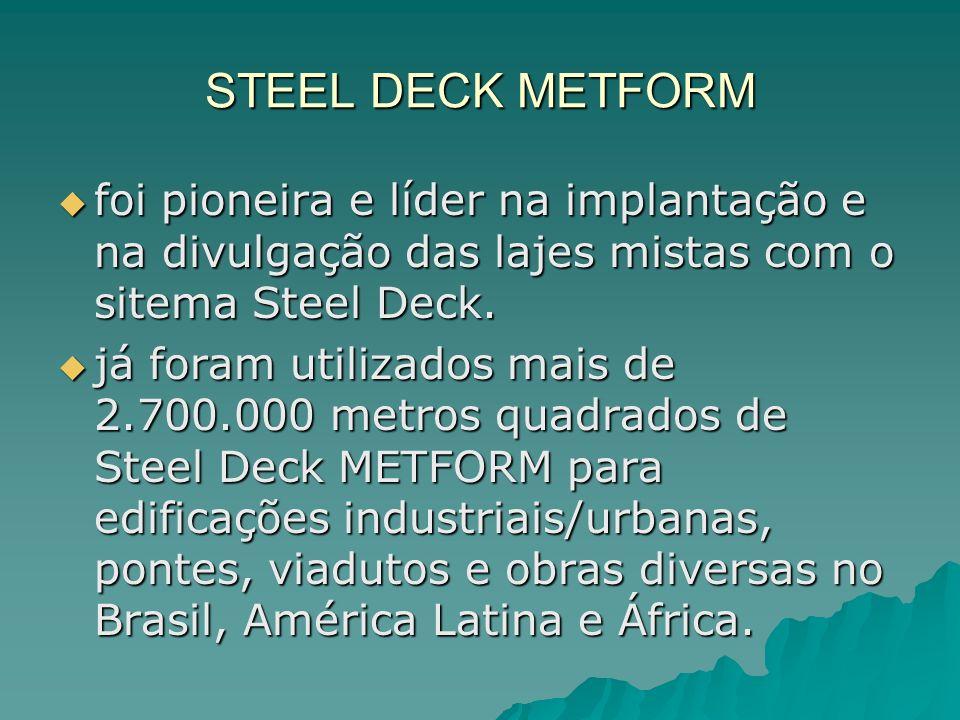 STEEL DECK METFORM foi pioneira e líder na implantação e na divulgação das lajes mistas com o sitema Steel Deck.