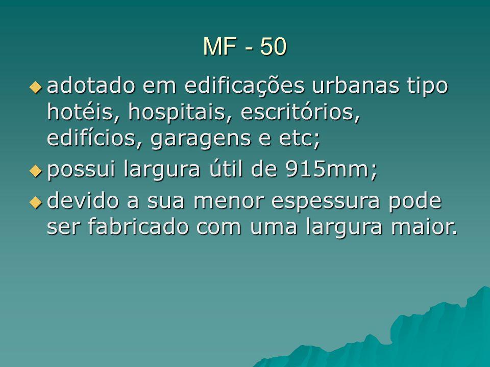 MF - 50 adotado em edificações urbanas tipo hotéis, hospitais, escritórios, edifícios, garagens e etc;