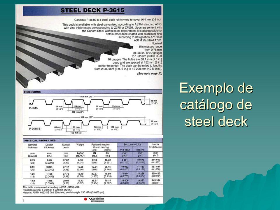 Exemplo de catálogo de steel deck