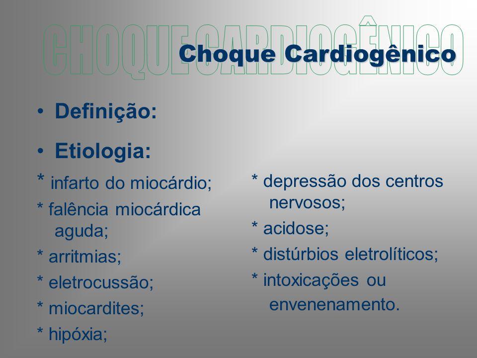 CHOQUE CARDIOGÊNICO Choque Cardiogênico Definição: Etiologia: