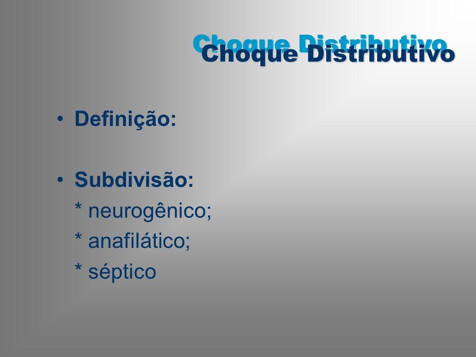 Choque Distributivo Definição: Subdivisão: * neurogênico;
