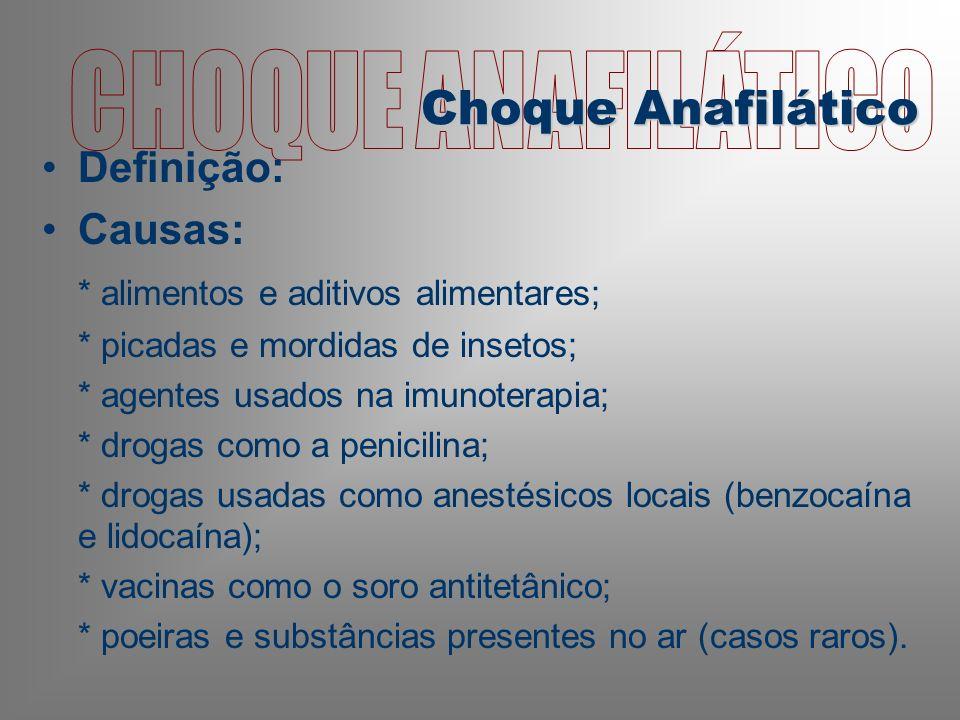 CHOQUE ANAFILÁTICO Choque Anafilático Definição: Causas: