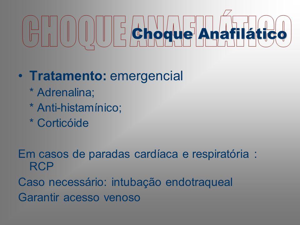 CHOQUE ANAFILÁTICO Choque Anafilático Tratamento: emergencial