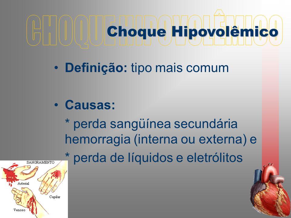 CHOQUE HIPOVOLÊMICO Choque Hipovolêmico Definição: tipo mais comum