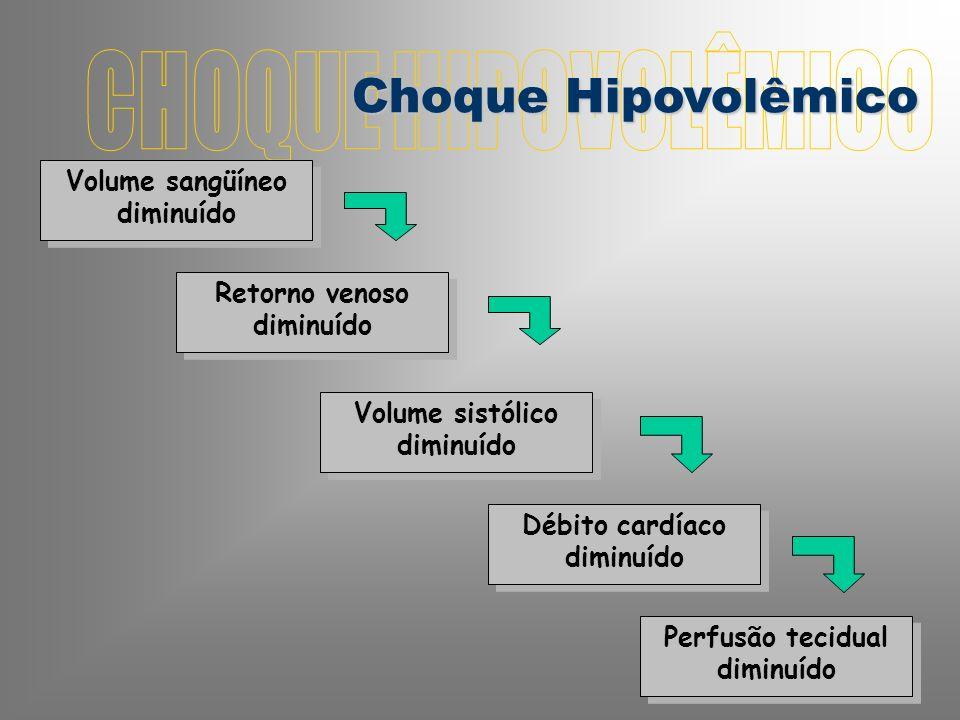 CHOQUE HIPOVOLÊMICO Choque Hipovolêmico Volume sangüíneo diminuído