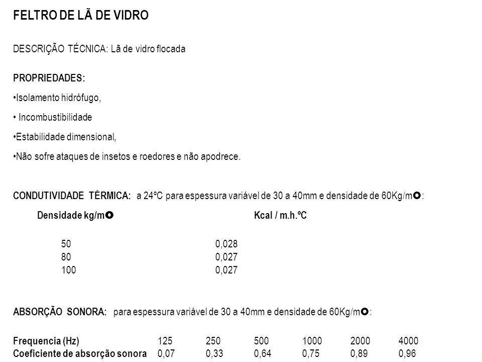 FELTRO DE LÃ DE VIDRO DESCRIÇÃO TÉCNICA: Lã de vidro flocada