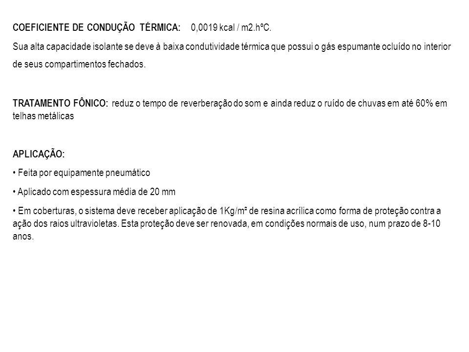 COEFICIENTE DE CONDUÇÃO TÉRMICA: 0,0019 kcal / m2.hºC.