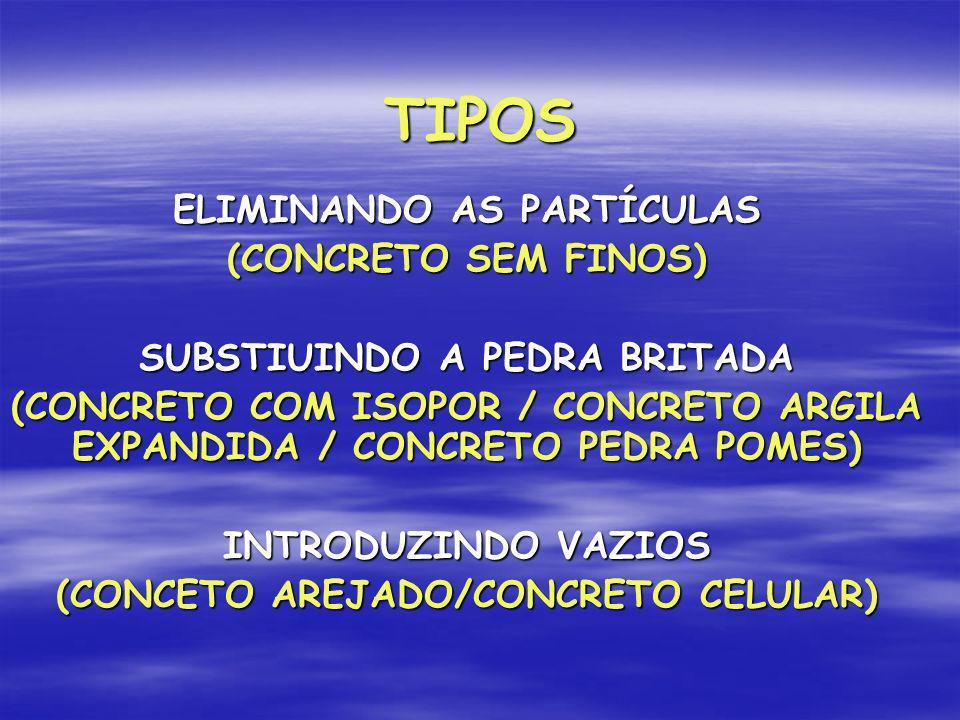 TIPOS ELIMINANDO AS PARTÍCULAS (CONCRETO SEM FINOS)