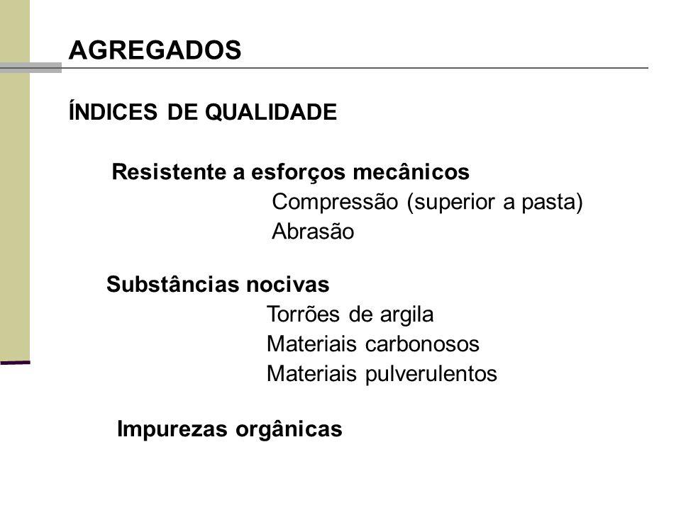 AGREGADOS ÍNDICES DE QUALIDADE Resistente a esforços mecânicos