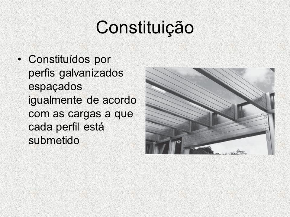 ConstituiçãoConstituídos por perfis galvanizados espaçados igualmente de acordo com as cargas a que cada perfil está submetido.