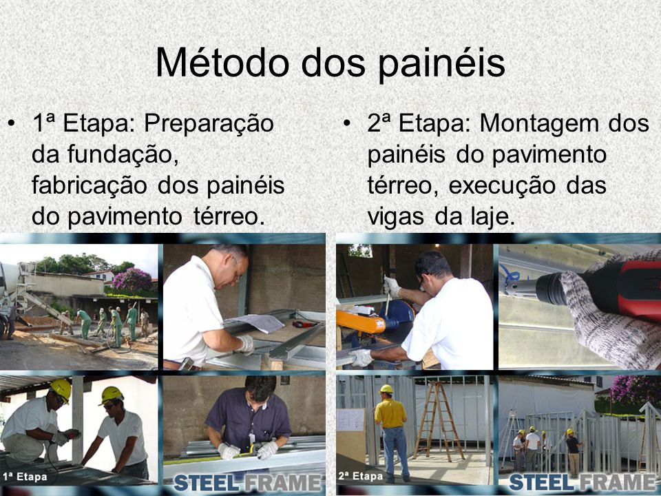 Método dos painéis1ª Etapa: Preparação da fundação, fabricação dos painéis do pavimento térreo.