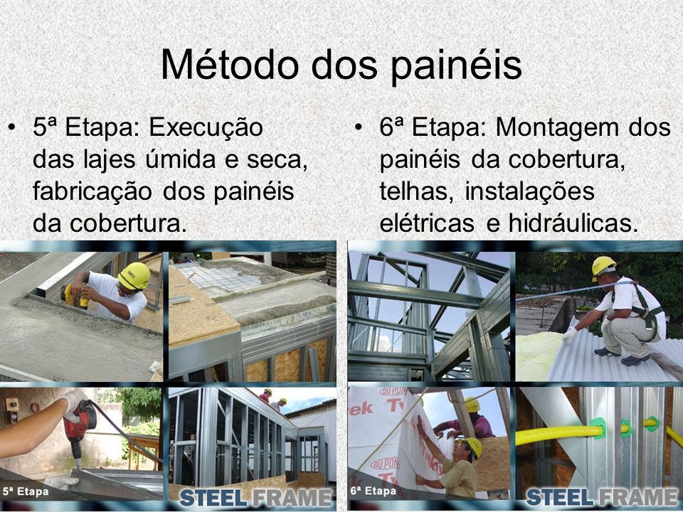 Método dos painéis5ª Etapa: Execução das lajes úmida e seca, fabricação dos painéis da cobertura.