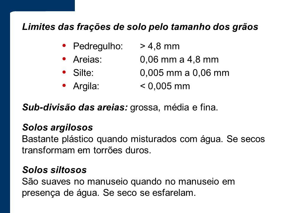 • Pedregulho: > 4,8 mm • Areias: 0,06 mm a 4,8 mm