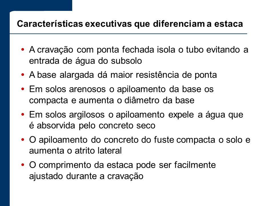 Características executivas que diferenciam a estaca