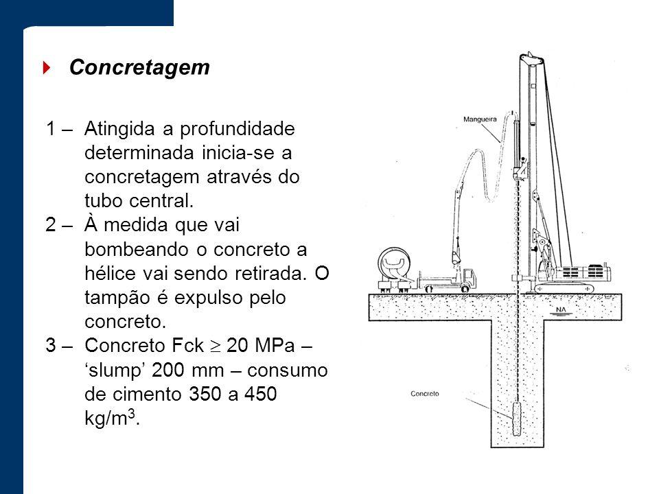 4 Concretagem 1 – Atingida a profundidade determinada inicia-se a concretagem através do tubo central.
