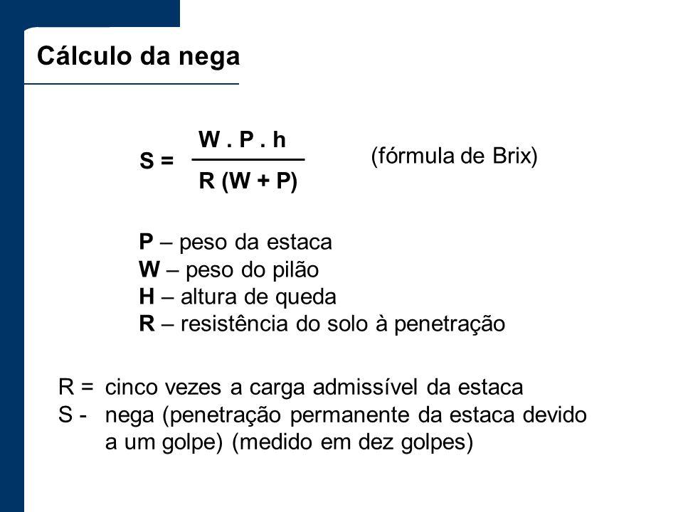 Cálculo da nega W . P . h R (W + P) (fórmula de Brix) S =