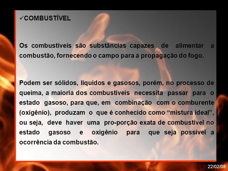 COMBUSTÍVEL Os combustíveis são substâncias capazes de alimentar a combustão, fornecendo o campo para a propagação do fogo.