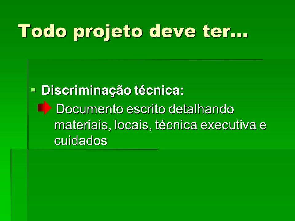 Todo projeto deve ter... Discriminação técnica:
