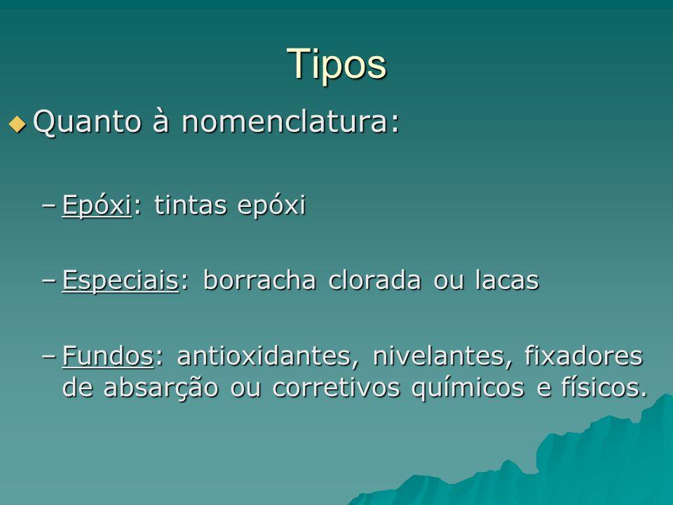 Tipos Quanto à nomenclatura: Epóxi: tintas epóxi