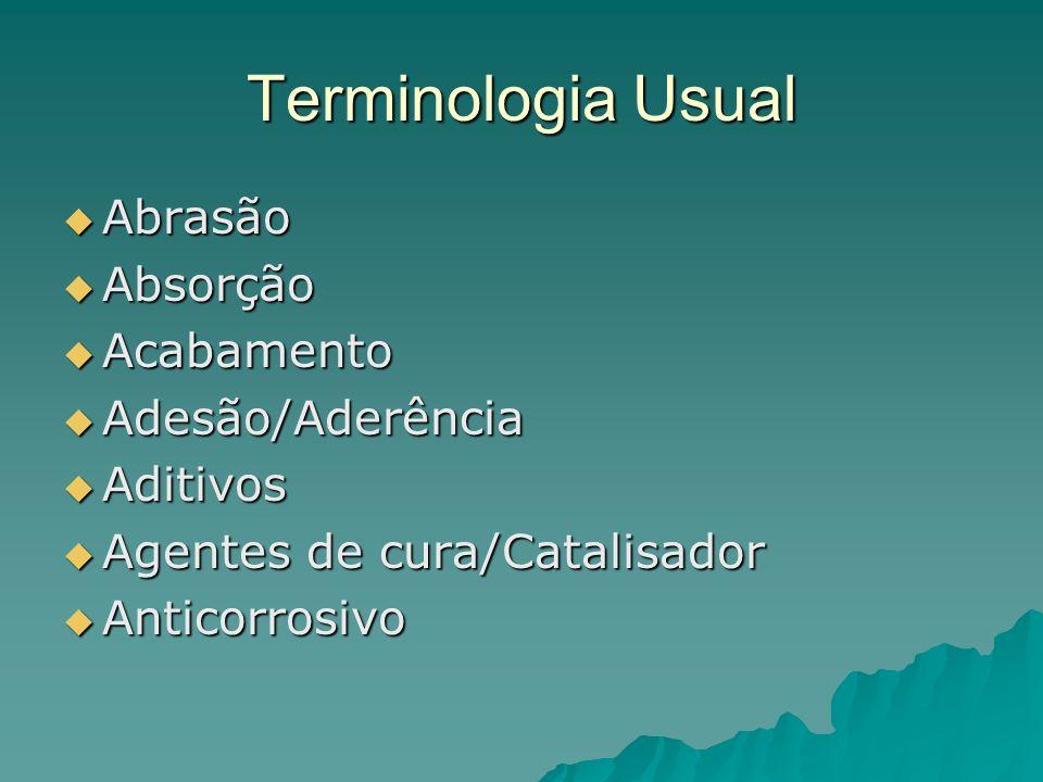 Terminologia Usual Abrasão Absorção Acabamento Adesão/Aderência