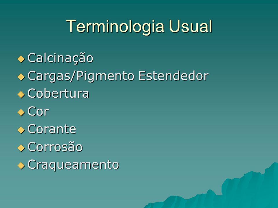 Terminologia Usual Calcinação Cargas/Pigmento Estendedor Cobertura Cor
