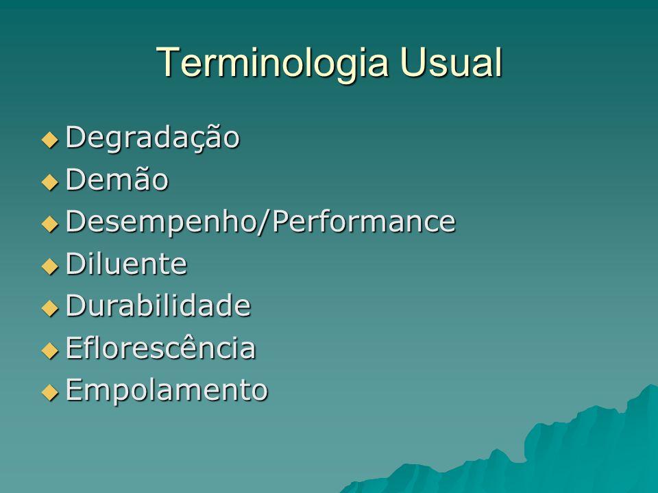 Terminologia Usual Degradação Demão Desempenho/Performance Diluente