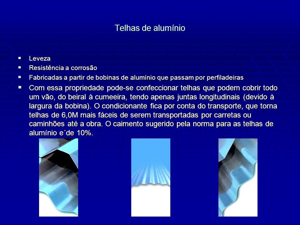 Telhas de alumínio Leveza. Resistência a corrosão. Fabricadas a partir de bobinas de alumínio que passam por perfiladeiras.
