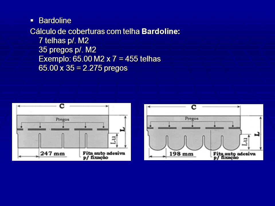 Bardoline Cálculo de coberturas com telha Bardoline: 7 telhas p/.