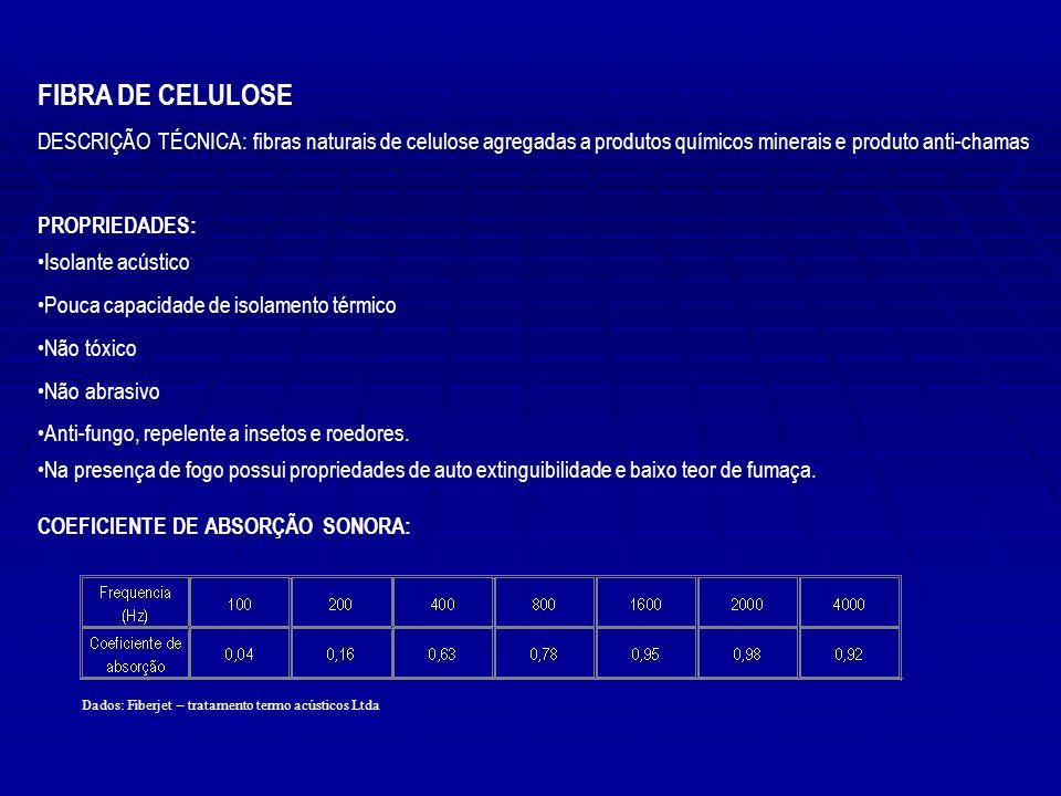 FIBRA DE CELULOSE DESCRIÇÃO TÉCNICA: fibras naturais de celulose agregadas a produtos químicos minerais e produto anti-chamas.