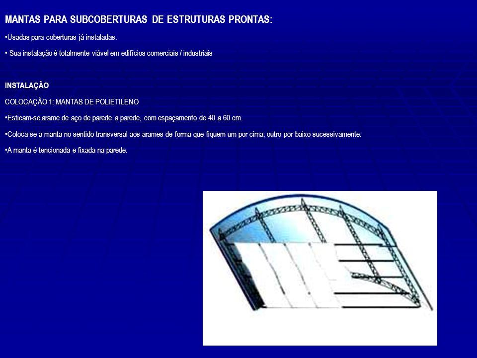 MANTAS PARA SUBCOBERTURAS DE ESTRUTURAS PRONTAS: