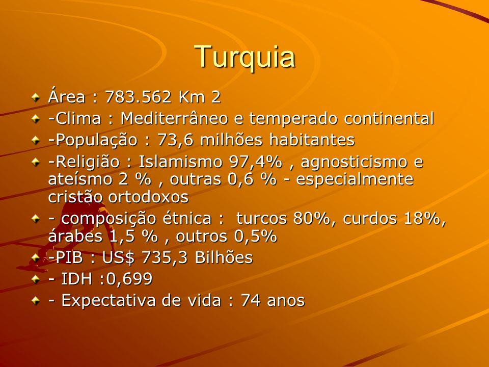 Turquia Área : 783.562 Km 2. -Clima : Mediterrâneo e temperado continental. -População : 73,6 milhões habitantes.