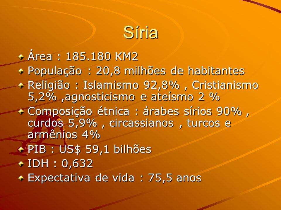 Síria Área : 185.180 KM2 População : 20,8 milhões de habitantes