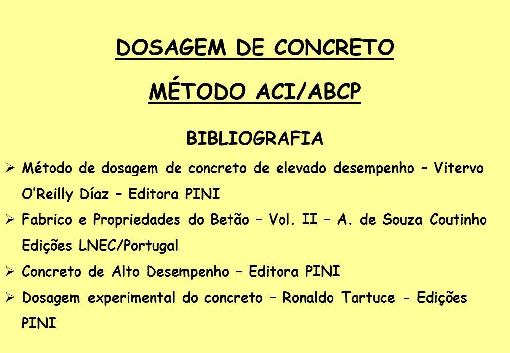 DOSAGEM DE CONCRETO MÉTODO ACI/ABCP