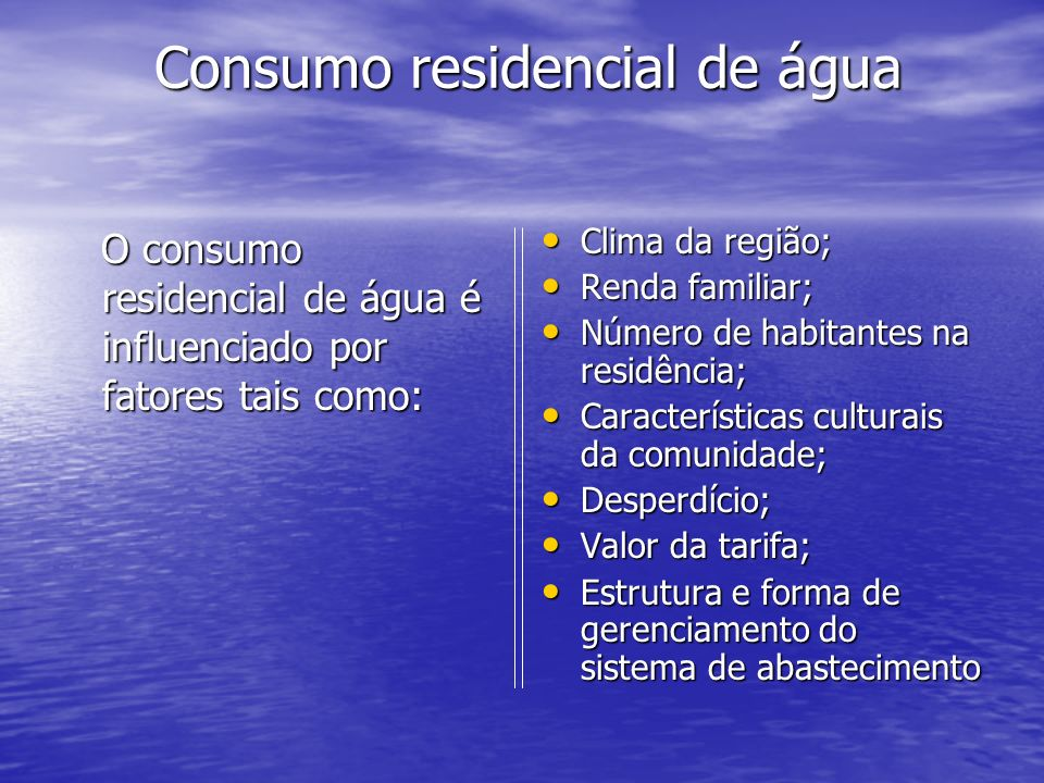 Consumo residencial de água