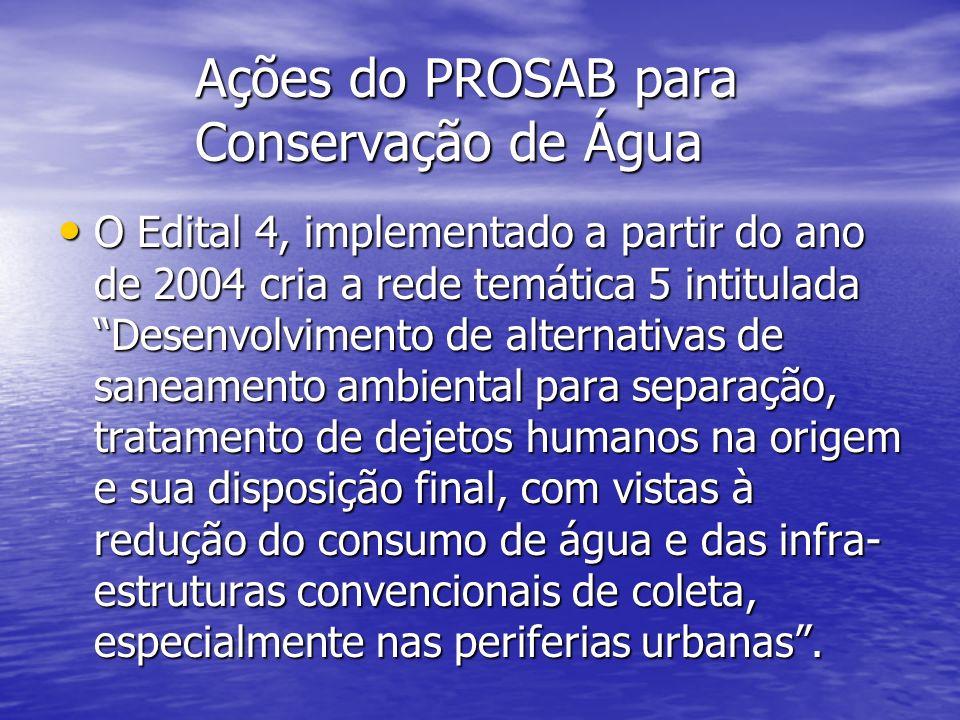 Ações do PROSAB para Conservação de Água