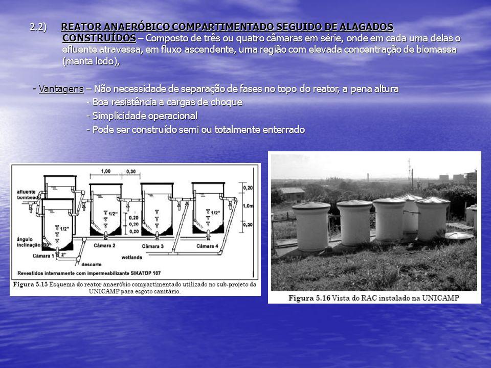 2.2) REATOR ANAERÓBICO COMPARTIMENTADO SEGUIDO DE ALAGADOS CONSTRUÍDOS – Composto de três ou quatro câmaras em série, onde em cada uma delas o efluente atravessa, em fluxo ascendente, uma região com elevada concentração de biomassa (manta lodo),