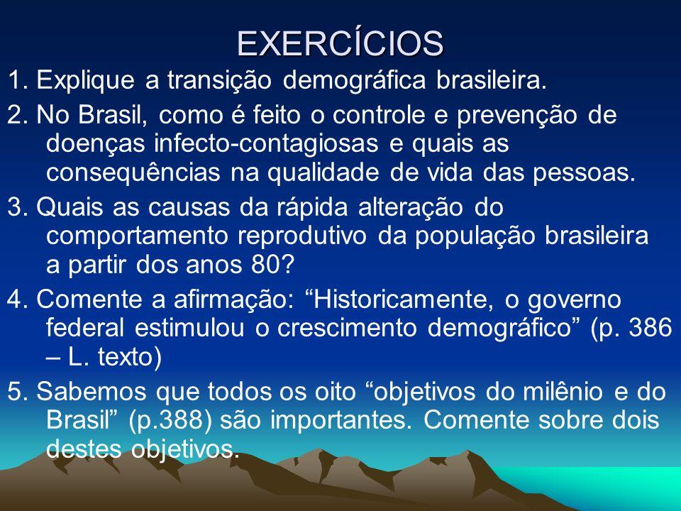 EXERCÍCIOS 1. Explique a transição demográfica brasileira.